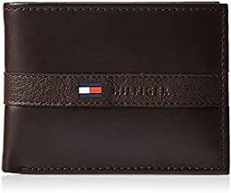 Tommy Hilfiger Men's Leather Wallet – Slim Bifold with 6 Credit Card Pockets and Removable Id Window, Casual Brown, One Size