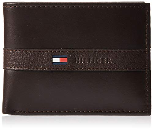 Tommy Hilfiger Men's Leather Wallet – Slim Bifold with 6 Credit Card Pockets and Removable Id Window - - One Size