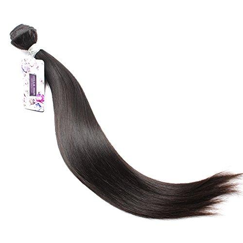 Bella Hair Brazilian Virgin Human Hair Silky Straight Hair Weaving 1 Bundles 100g 8-34inch Natural Black Color (20inch)
