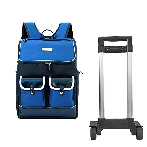 LHY EQUIPMENT Impermeable Mochila Trolley para Niños,Portátil Mochila para Estudiantes con Ruedas con Seis Ruedas para Subir Escaleras Adecuado para La Escuela/Viaje,Azul