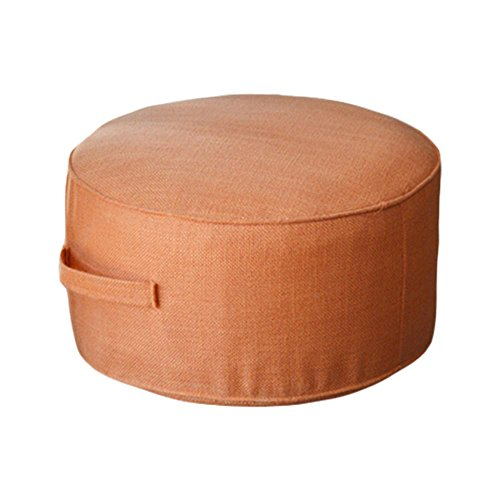 (布トイ)cloth toy 綿麻 畳 座布団 ホーム 茶道 床 踏み台 取り外し自由 布 椅子 直径40cm*高20cm (オレンジ)