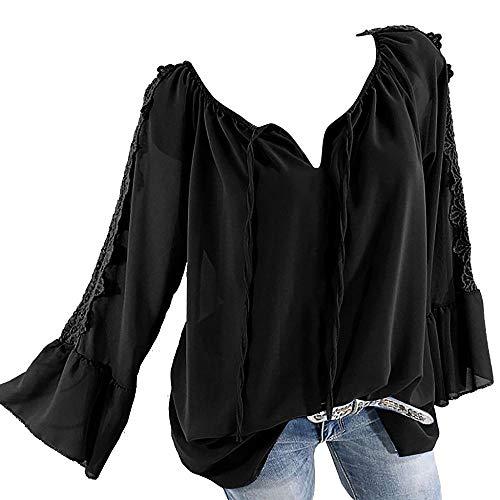 YEBIRAL Große Größe Damen Bluse V-Ausschnitt Langarm Shirt Elegant Damenmode Schulterfrei Oberteil Tops Carmenbluse mit Spitze(XXXXXL,Schwarz)