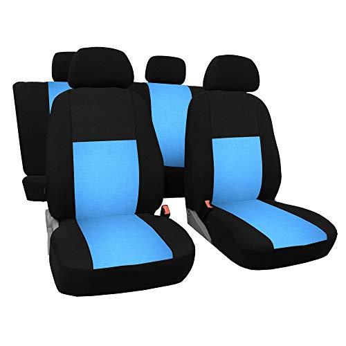 3er Set Saferide Autositzbezüge PKW universal   Auto Sitzbezüge Polyester Blau mit Airbag   für Vordersitze und Rückbank   1+1 Autositze vorne und 1 Sitzbank hinten teilbar 2 Reißverschlüsse