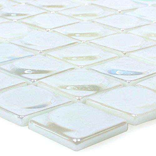 Glasmosaik Fliesen Accra Weiß 3D Rund für Wandverkleidung Badfliesen Bad Mosaikstein