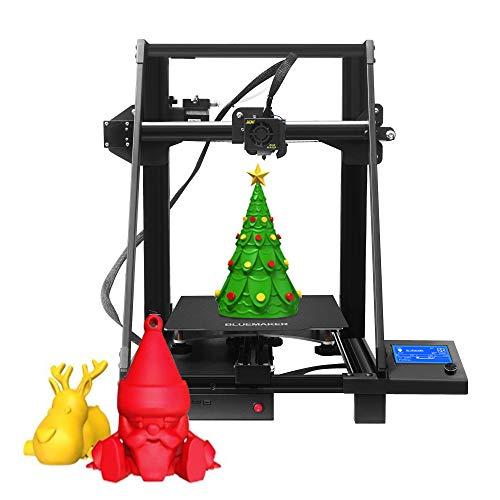 BlueMaker DIY 3D Printer Large-Size kit FDM 3D Printer kit with 250x250x280mm Large Printing Size,Carrying LED Lighting, Filament End Detector & Resume Printing for STEM & Tinkerers