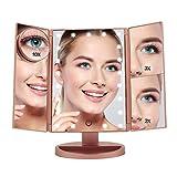 Espejo Maquillaje con Luz LED Boston TEch BE104 Color Oro Rosa - 21 Luces regulables. 4 aumentos Funcion a Carga USB o Pilas. Rotación 360º