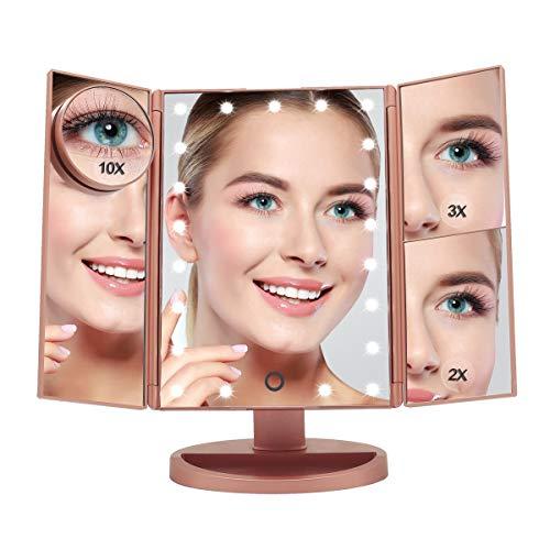 specchio trucco rosa Boston Tech BE104 - Specchio per il trucco originale. 3 pieghe regolabili