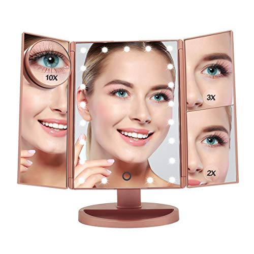 Boston Tech BE-104 Kosmetikspiegel mit verstellbarem Licht, faltbar, 180 Grad drehbar, mit USB-Ladung oder Batterien Farbe Roségold Metallic 21 LED-Leuchten, 4 Vergrößerungsspiegel (1X, 2X, 3X, 10X).