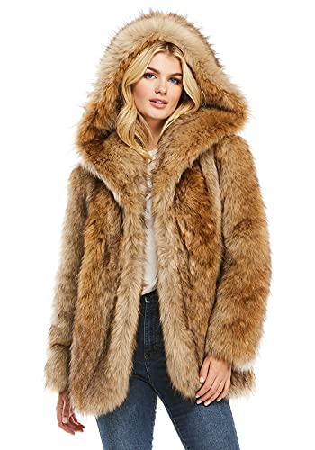 Coyote Hooded Faux Fur Jacket (XL) (Coyote)