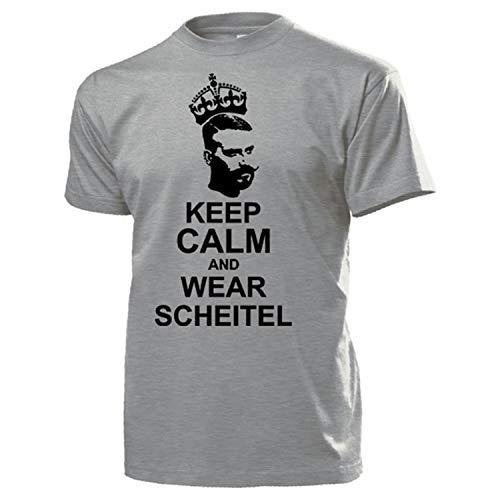 Keep Calm and WEAR SCHEITEL Seitenscheitel Männer Frisur - T Shirt #14486, Größe:XL, Farbe:Grau