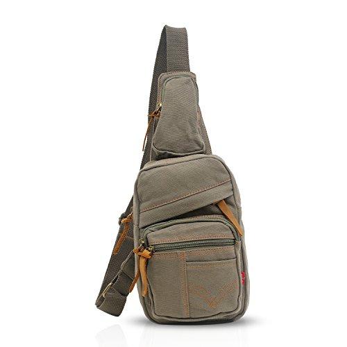 FANDARE Sling Bag Monospalla Zaino Spalla Borsa a Tracolla Borsello Marsupio Zainetto Chest Bag Scuola Uomo Donne Tela Army Green