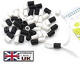 200 cierres de cordón de silicona para cordones elásticos, ajustadores de cuerda antideslizantes, 100 negro y blanco