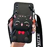 SGVAHY Coin Purse Case Compatible with iPhone 7 Plus / 8 Plus, Cute Cat Design with Zipper Back Cover Soft Silicone Shockproof Protective Case [Long Strap Rope] (Cat Black, iPhone 7 Plus / 8 Plus )