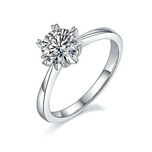 KRKC Anillo de Moissanita para mujer, anillo de diamantes de 1 quilate, anillo de plata de ley 925, anillo de compromiso, anillo de boda, Piedra, Moissanite,