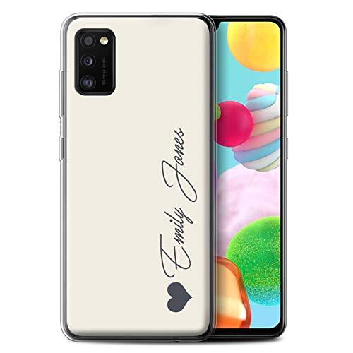 Stuff4 Personalisiert Persönlich Pastell Töne Gel/TPU Hülle für Samsung Galaxy A41 2020 / Elfenbein Herz Design/Initiale/Name/Text Schutzhülle/Hülle/Etui