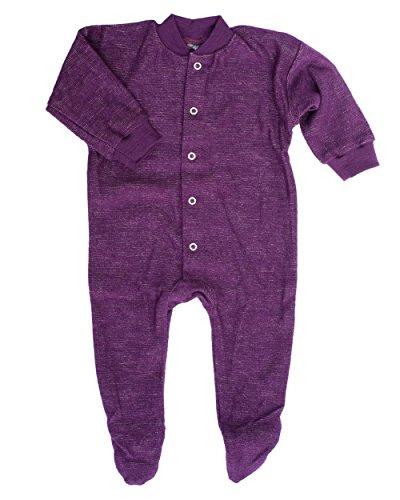 Cosilana, Schlafanzug/Strampler mit Fuß, 100% Wolle (kbT) (62, Pflaume)