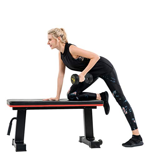 Vanswe Flat Bench 1000lbs Workout Utility Exercise Flat Weight Bench Press for Home Gym Fitness Weight Lifting Training