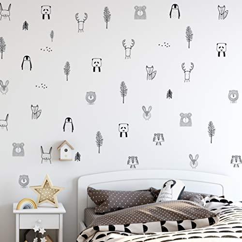 Pegatinas de pared de cuarto de bebé para habitación de bebé: Safari elegante, Animal del bosque, Árbol de vivero, Pegatinas de pared de selva para vivero de bebés. Vinilos infantiles