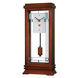 Bulova B1839 Willits Frank Lloyd Wright Mantel Clock, 14, Walnut Finish