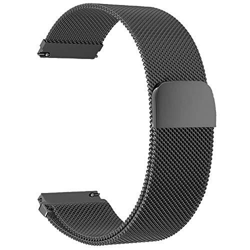 BaiJ Cinturino in Acciaio Inossidabile,Cinturino con Chiusura Magnetico in Metallo Cinturini di Ricambio Regolabile per Uomo e Donna 18mm Nero