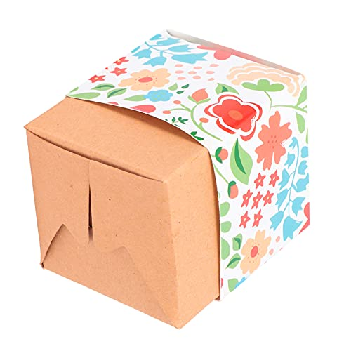 SALUTUY Cajas De Regalo, Cajas De Cartón Caja De Papel Kraft Flores De Colores Cajas De Embalaje Pequeñas Cajas De Regalos para Fiestas