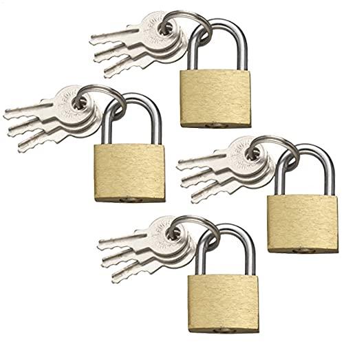 com-four® 4X Vorhängeschloss aus Messing - Vorhangschloss mit 3 Schlüssel - Kleines Kofferschloss für Gepäck und Reisetaschen