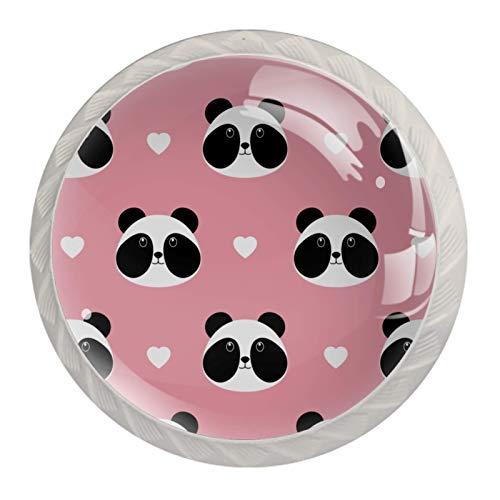 Bonito diseño de panda rosa con corazones   Perilla de gabinete de alta calidad para cajones y gabinetes de oficina, hogar, cocina, baño, aparador y armario