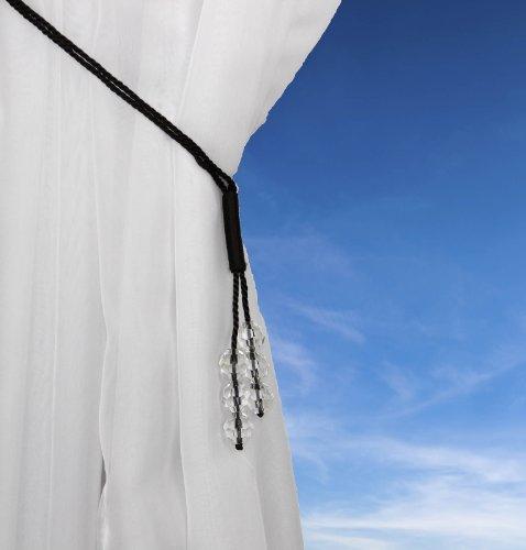 Ideal Textiles Zar Alzapaños, con Cuentas DE Cristal Gasa Alzapaños, Cable Cortina Abrazadera - Chocolate