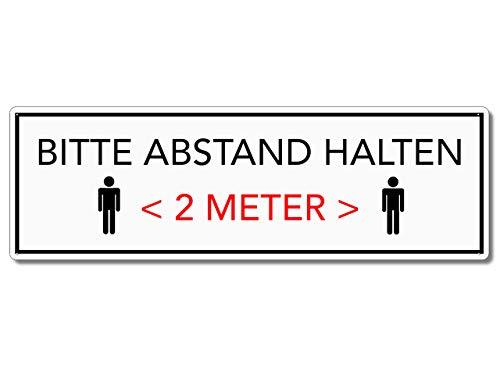 Interluxe metalen bord - Houd afstand (lijst zwart) - weerbestendig bord als instructiebord voor afstandregeling voor winkel, winkel, winkel, restaurant, café