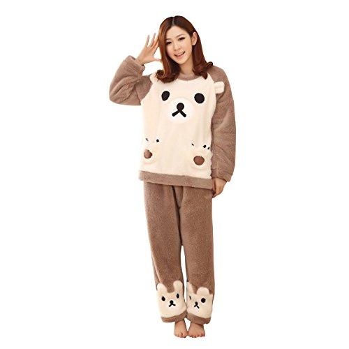 WSLCN Femme Ensemble de Pyjama Animal Ours Mignon Hiver Douce Vêtement de Nuit Flanelle Ours Cosplay Chaud Kigurumi Déguisement de Halloween Noël Party Soirée Ours XXS