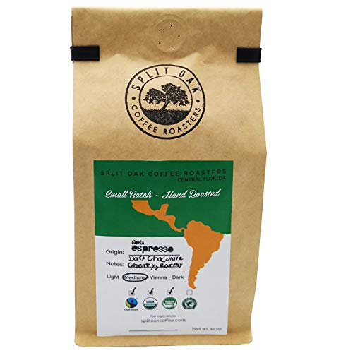 Organic Nona Espresso Whole Beans. Africa, Indonesia and South America best Beans. Perfectly balanced mind blowing Strawberry, Dark Chocolate, Caramel, Creamy and Walnut taste. Try Split Oak Coffee