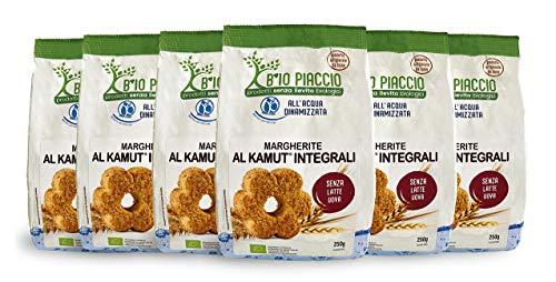 B io Piaccio Biscotti Margherite al Kamut Integrale - 6 confezioni da 250 gr - Prodotto Artigianale da Forno - Senza lievito, uova, latte e olio di palma
