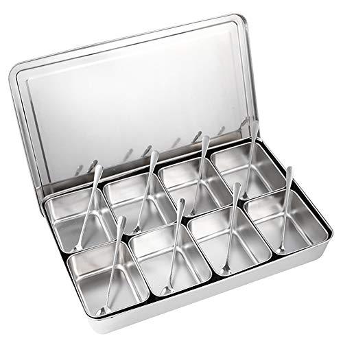 ROSEBEAR Exquisita caja de condimento de acero inoxidable de 8 cuadrícula de cocina de la caja de almacenamiento de la caja de alimentos caja de ingredientes caja de condimento conjunto