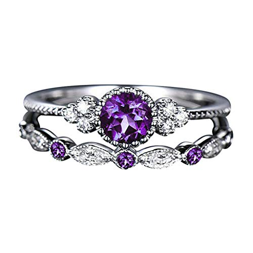 Couple Diamond Ring Pair Ladies Fashion Ring Jewelry Jewelry Ring Amethyst Ring Symbol of Love,Two rings Purple