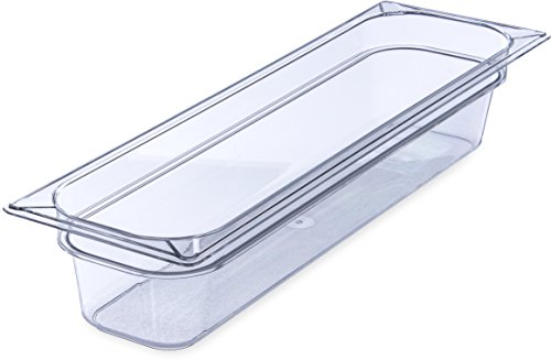 """Carlisle 10241B07 Gastronorm Polycarbonate One-Half Long Size Food Pan, 5.1 qt. Capacity, Half-Size 20-3/4 x 6-1/4 x 4"""", Clear (Case of 6)"""