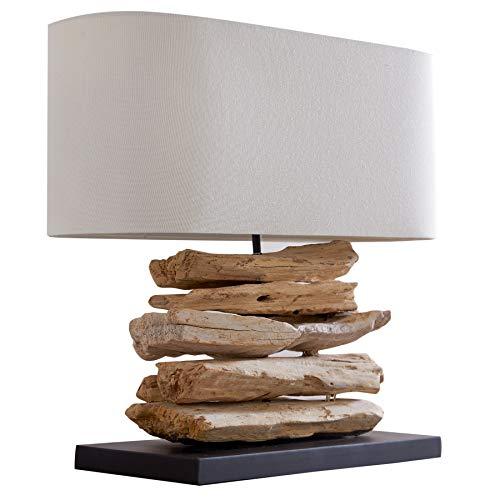 Design Treibholz Tischleuchte RIVERINE Leinen Schirm Handarbeit Tischlampe Wohnzimmerleuchte Treibholzlampe