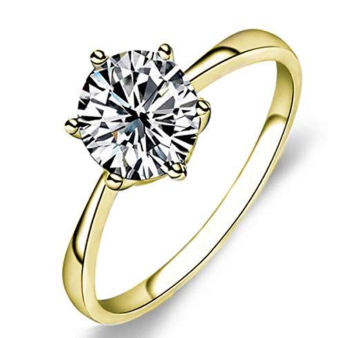 Wonderful Day Classic Six Claw Gold Color Ring AAA Austria Crystal Wedding Ring Nupcial para Mujeres Anillo de Compromiso de joyería, 9, Color Oro Amarillo