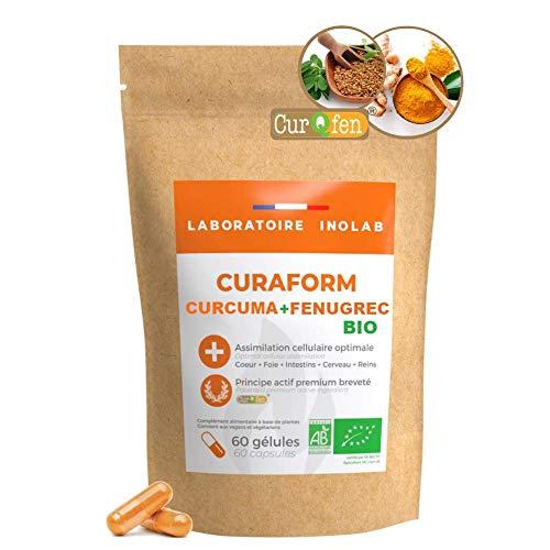 CÚRCUMA Patente curqfen | 100% natural, sin aditivos | Curcumina libre biodisponible + de 12 horas | Distribución probada de tejidos según estudios clínicos