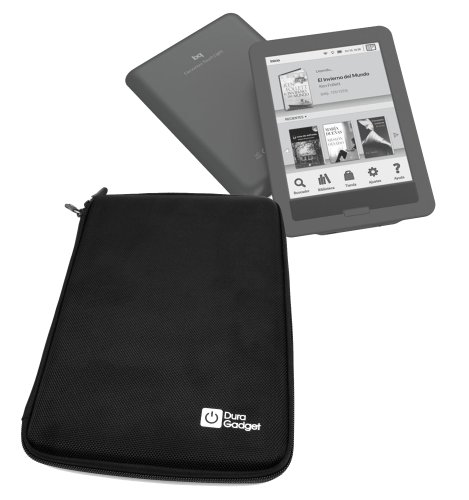 DURAGADGET Funda Negra Rígida con Cierre De Cremallera para eBook BQ Cervantes Touch Light con Bolsillo De Rejilla Interno