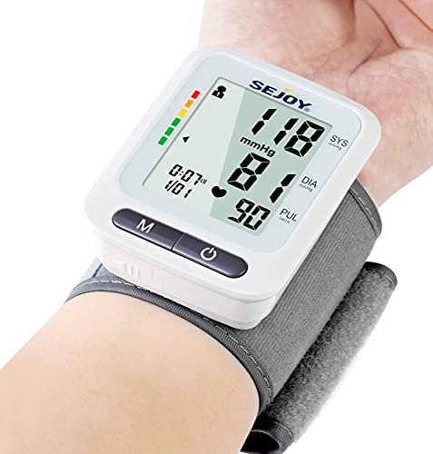 Blood Pressure Monitor XL Wrist Cuff 5.3-8.5 Inches, Automatic Accurate BP Monitor with Large Screen Display, 120 Reading Memory, Irregular Heartbeat Detector, Home Use Digital Blood-Pressure Machine