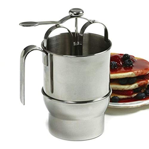 Norpro 18/10 Stainless Steel Jumbo 4 Cup Pancake Waffle Batter Pitcher Dispenser