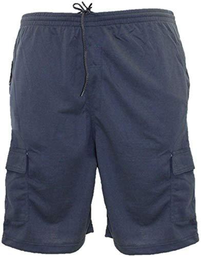 KAM Hombre Talla Grande Algodón Terry Jersey Shorts Cargo (300) - Azul Marino, 6XL Cintura (60-62 Inches)