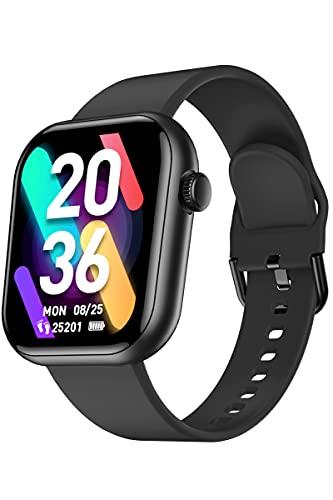 CUBOT smartwatch, 1,7 ' pantalla táctil fitness tracker, reloj inteligente de pulsera con pulsómetro, 5 ATM impermeable, podómetro. Negro