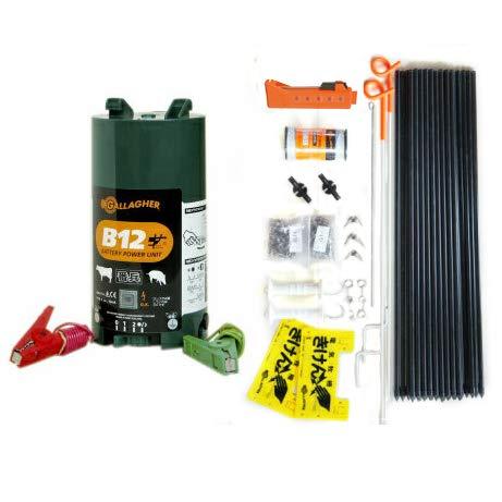 乾電池で動く電気柵 楽ちん100mセット・14型FRP支柱仕様 (電柵2段張り) 自動車用12Vバッテリー使用可