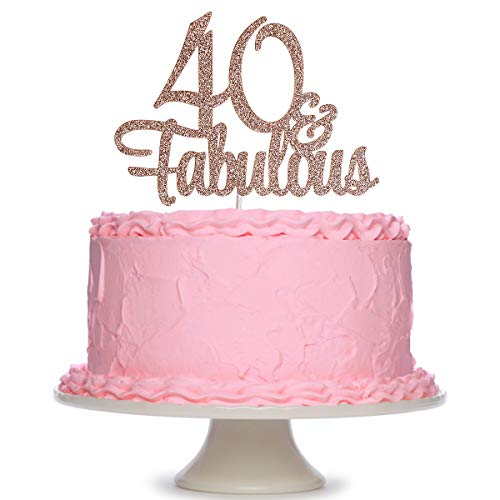 Rose Gold Glittery 40 & Fabulous Birthday Cake Topper - 40th Birthday Party Decorations, 40 Birthday Cake Decorations Supplies (Double Sided)