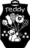 Schablone'Teddy' 29x18cm Bär Teddybär Ballons Sterne Baby Strampler Kind schablonieren Textilschablone Motiv Kunststoff