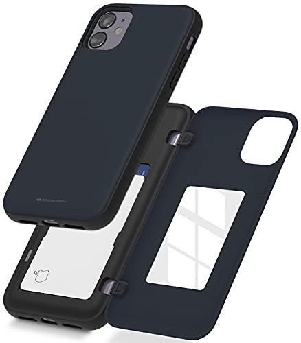 GOOSPERY Funda Tarjetero para iPhone 11, Cierre De Puerta Magnético Fácil, Protector Antigolpes de Doble Capa, Carcasa Trasera Resistente con Espejo Oculto (Azul/Navy) IP11R-MDB-NVY