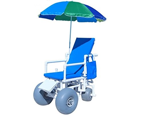 ROLLEEZ Beach Wheelchair with Wheeleez Large Front, Small Rear Rolleez Pneumatic Sand Wheels