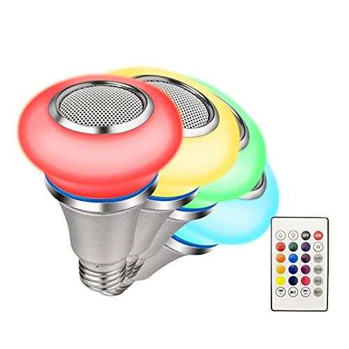 LCYZ Bombilla Música LED Bluetooth, Bombilla Sonido Colorida Inteligente Inalámbrica E27, Bombillas Inteligentes Que Cambian Color Regulables 24 Teclas Control Remoto, para Decoración Fiesta Casa