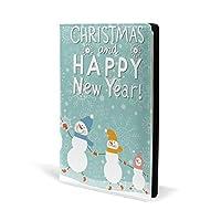 ブックカバー a5 雪だるま クリスマス 文庫 PUレザー ファイル オフィス用品 読書 文庫判 資料 日記 収納入れ 高級感 耐久性 雑貨 プレゼント 機能性 耐久性 軽量